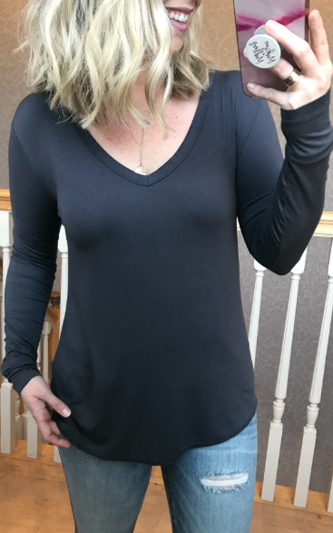 Charcoal / S Dakota Long Sleeve Top + MORE COLORS - Madison and Mallory