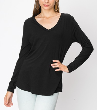 Black / S Dakota Long Sleeve Top + MORE COLORS - Madison and Mallory