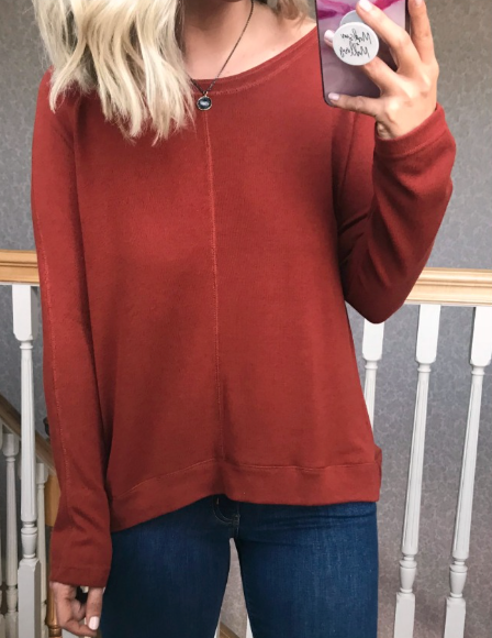 Rust / S Viri Long Sleeve Knit Top - Madison + Mallory