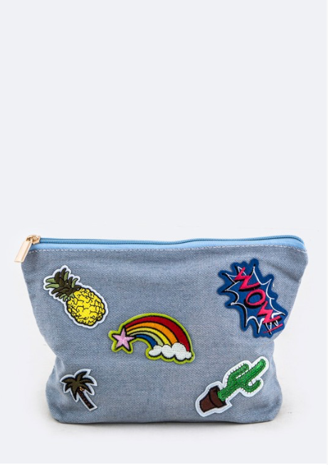Denim Patch Cosmetic Bag - Madison + Mallory