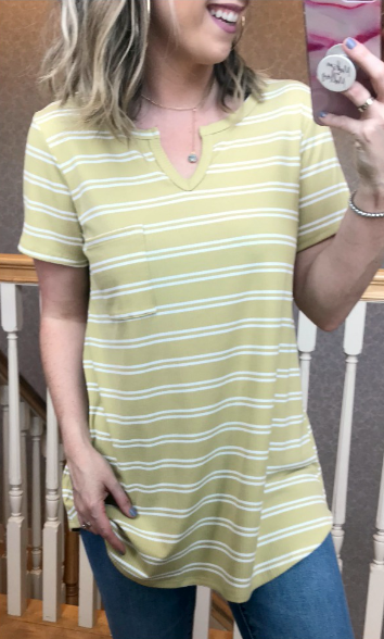 Mustard / S Bryony Striped Top - Madison + Mallory