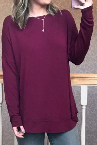 Plum / S Beatrice Cross Back Long Sleeve Top - Madison + Mallory