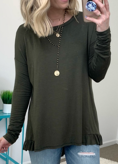 Olive / S Easy Street Striped Top - Madison + Mallory