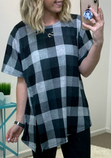 Gray / S Davin Plaid Slit Hem Top - Madison + Mallory