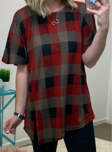 Red / S Davin Plaid Slit Hem Top - Madison + Mallory