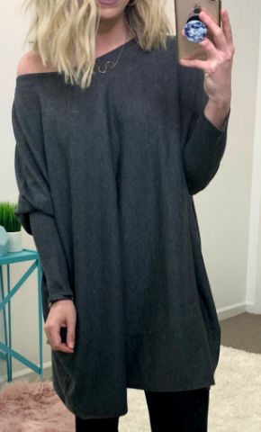 Charcoal / SM Braxton Knit Tunic - Madison + Mallory
