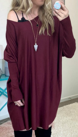 Wine / SM Braxton Knit Tunic - Madison + Mallory