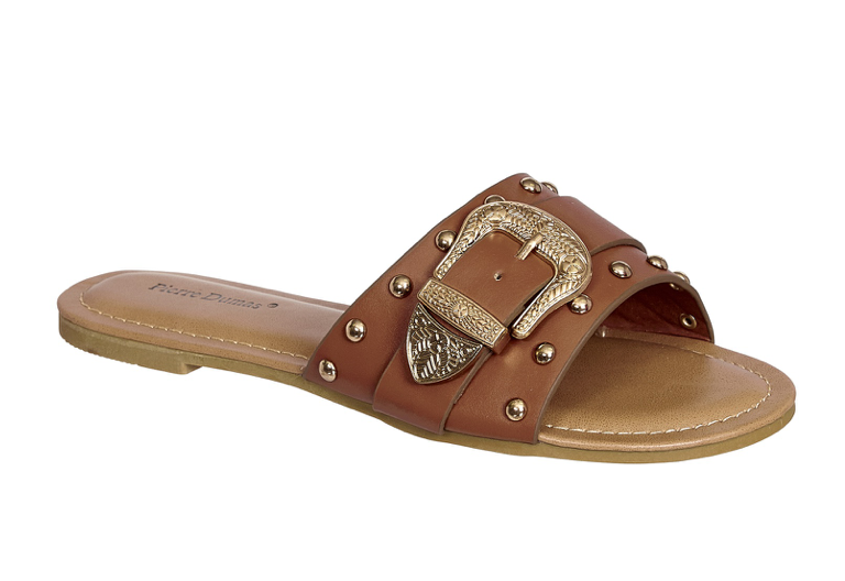 5.5 / Tan Sarita Studded Buckle Sandals - FINAL SALE - Madison and Mallory