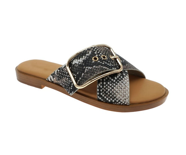 Draw the Line Snake Buckle Sandals - FINAL SALE - Madison and Mallory