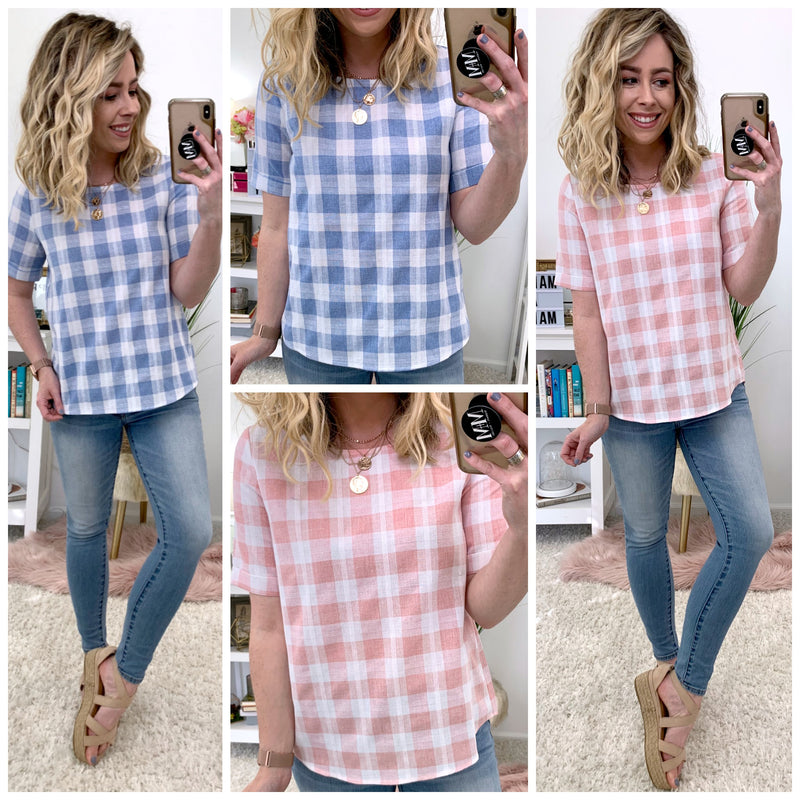 Seen Around Town Gingham Plaid Top - Madison + Mallory