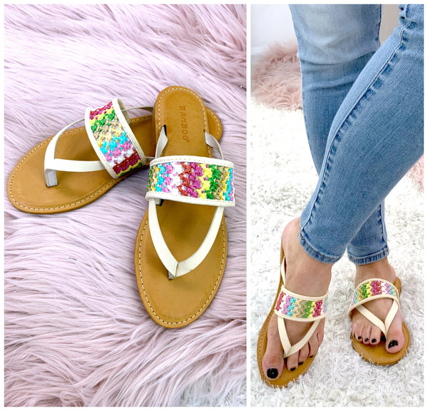 Shoreline Crochet Detail Sandals - FINAL SALE - Madison + Mallory