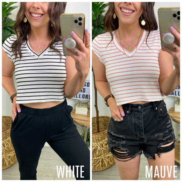 Skip the Line Striped V-Neck Crop Top - Madison and Mallory
