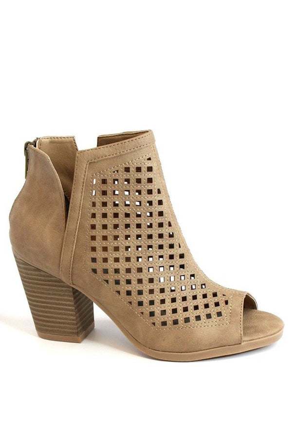 6 / Natural Laser Cut Peep Toe Booties - Madison + Mallory
