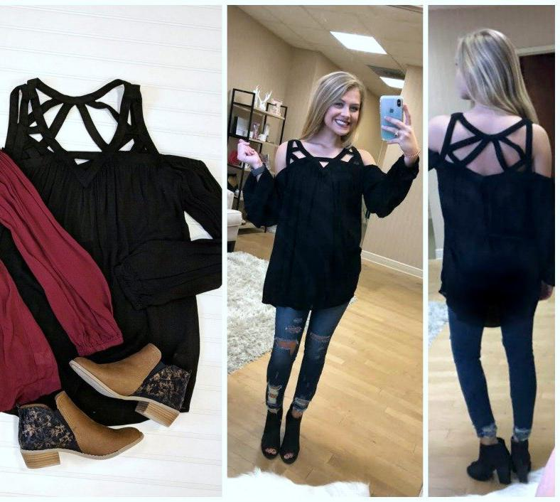S / Black Strappy Tunic Top - Madison + Mallory