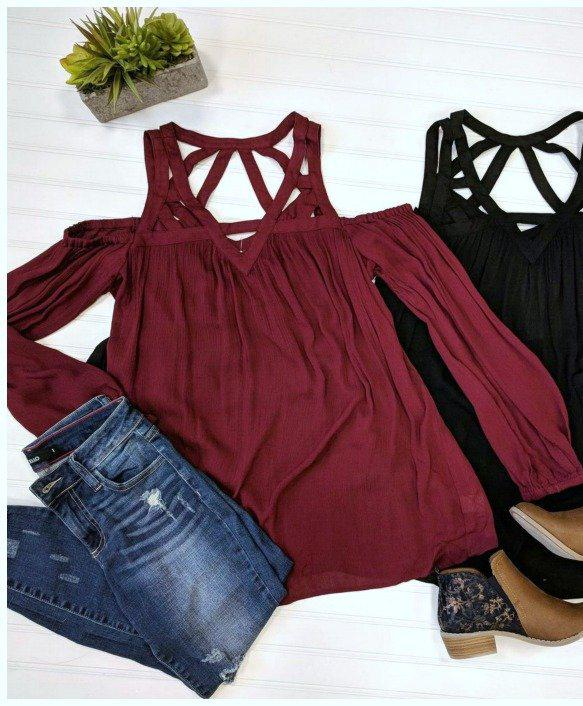 S / Wine Strappy Tunic Top - Madison + Mallory