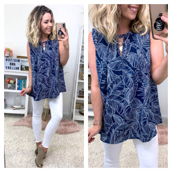 Sunshade Tropical Print Keyhole Top - Madison + Mallory