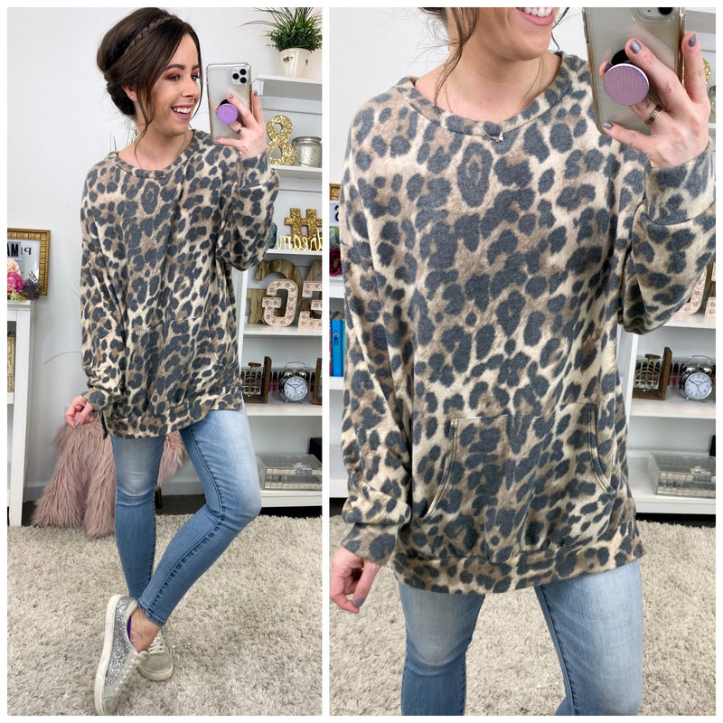 Swift Moves Leopard Print Pullover - Madison and Mallory