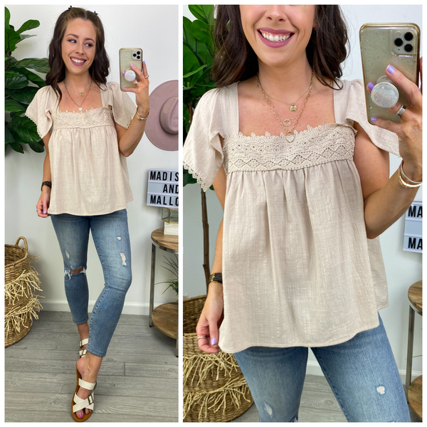 Unforgettable Impression Flowy Lace Top - Madison and Mallory