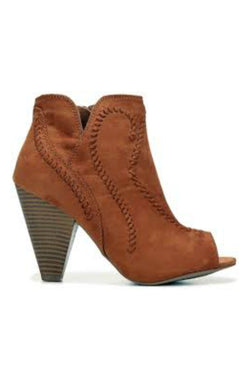 6 / Cognac Embroidered Peep Toe Booties - Madison + Mallory