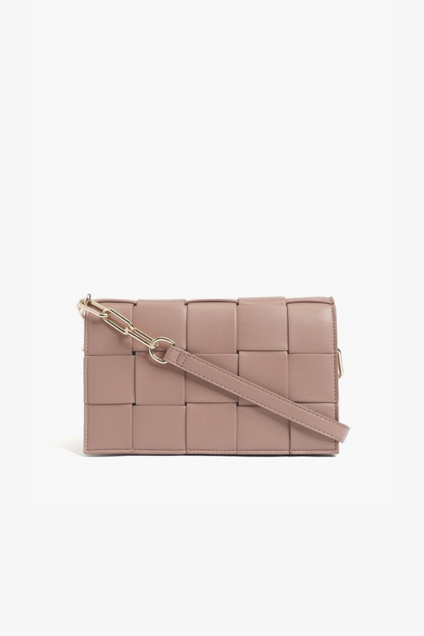 Mauve Fresh and Chic Woven Chain Link Crossbody Bag - Madison and Mallory