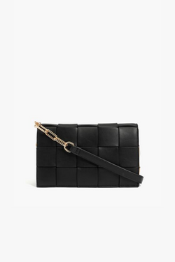 Black Fresh and Chic Woven Chain Link Crossbody Bag - Madison and Mallory
