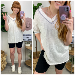 Vanlue Contrast Stitch V-Neck Top - Madison and Mallory