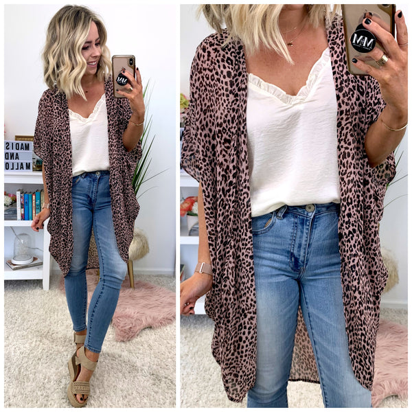 Wait on It Leopard Kimono - FINAL SALE - Madison + Mallory