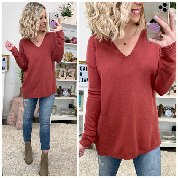 Without You V-Neck Knit Sweater - Madison + Mallory