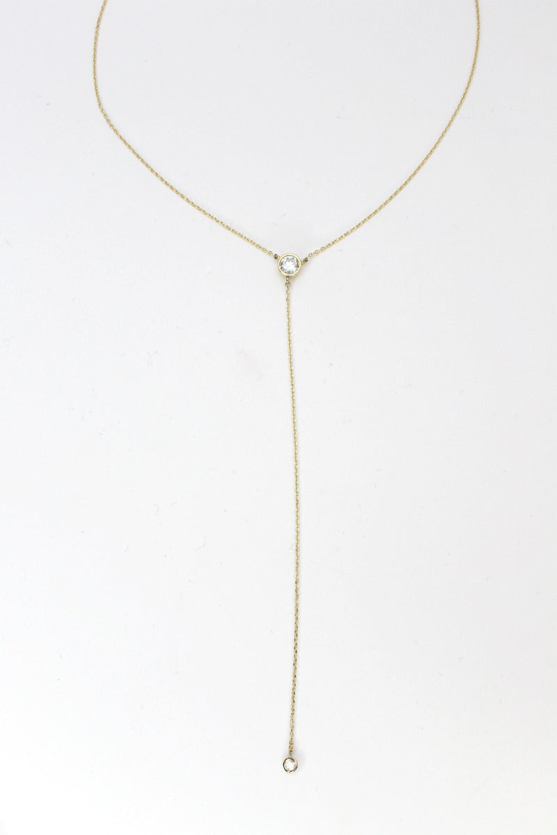 Gold 14KT Crystal Accent Y Necklace - Madison + Mallory