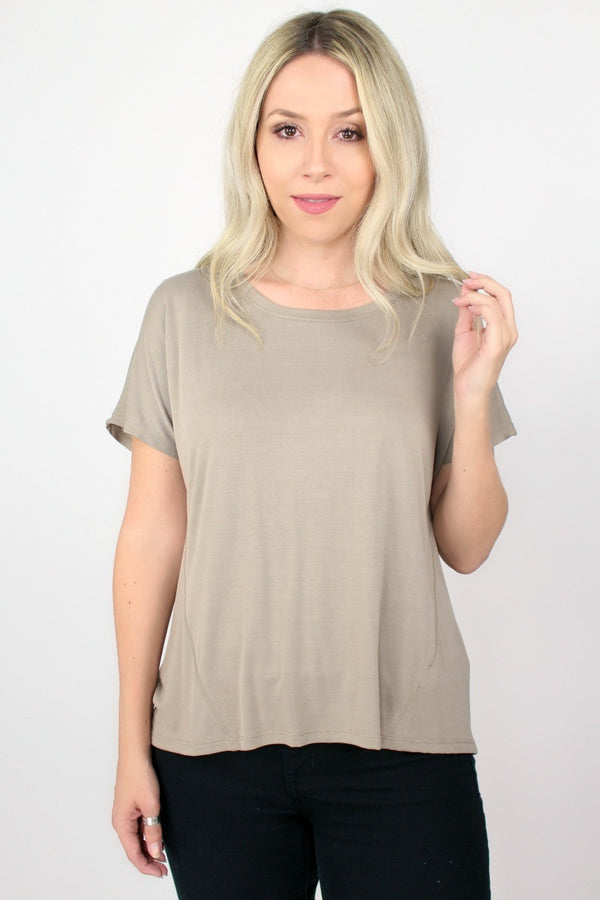 S / Greige Short Sleeve Open Back Top - Madison + Mallory