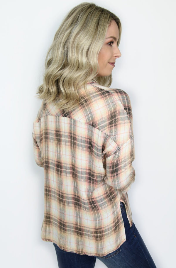 Button Up Plaid Shirt - Madison + Mallory