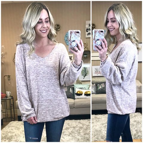 Balloon Sleeve Brushed Knit Top