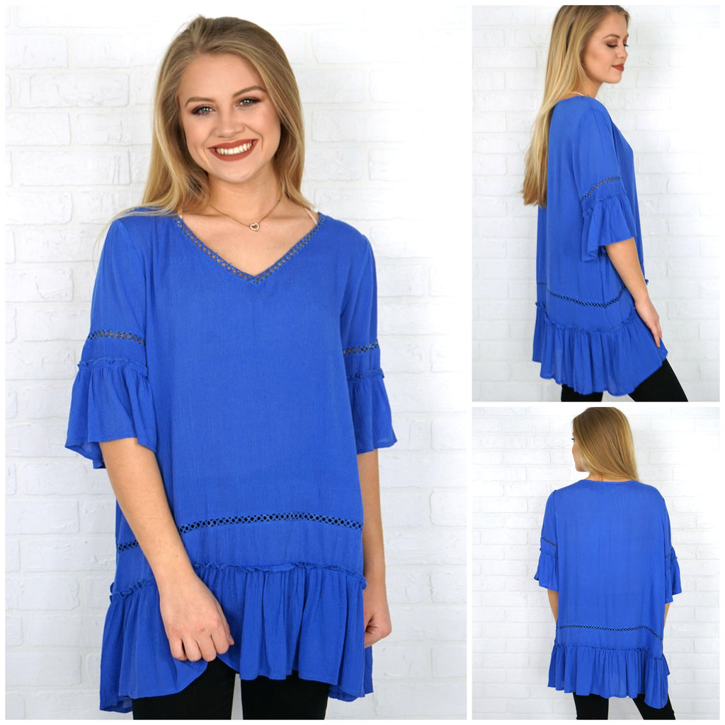 Bell Sleeve Ruffle Tunic Top - Madison + Mallory