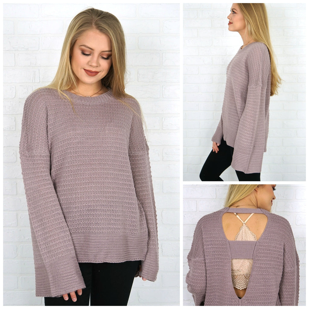 Cutout Back Bell Sleeve Sweater - Madison + Mallory