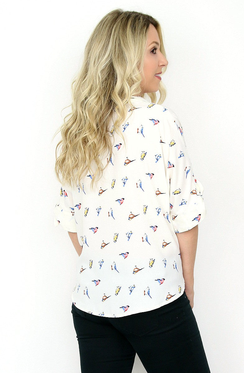 Short Sleeve Bird Print Top - Madison + Mallory