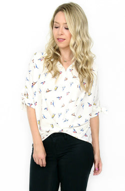 S / Ivory Short Sleeve Bird Print Top - Madison + Mallory