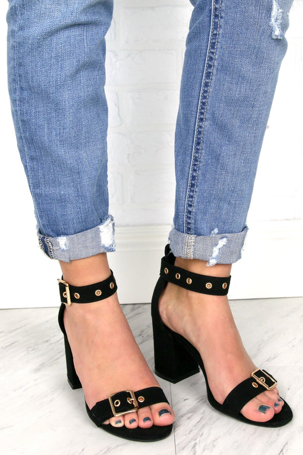 Buckle Detail Strappy Heels - Madison and Mallory