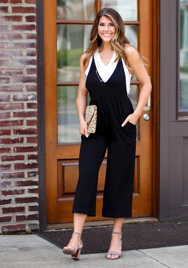 S / Black No Worries Knit Jumpsuit - Madison + Mallory