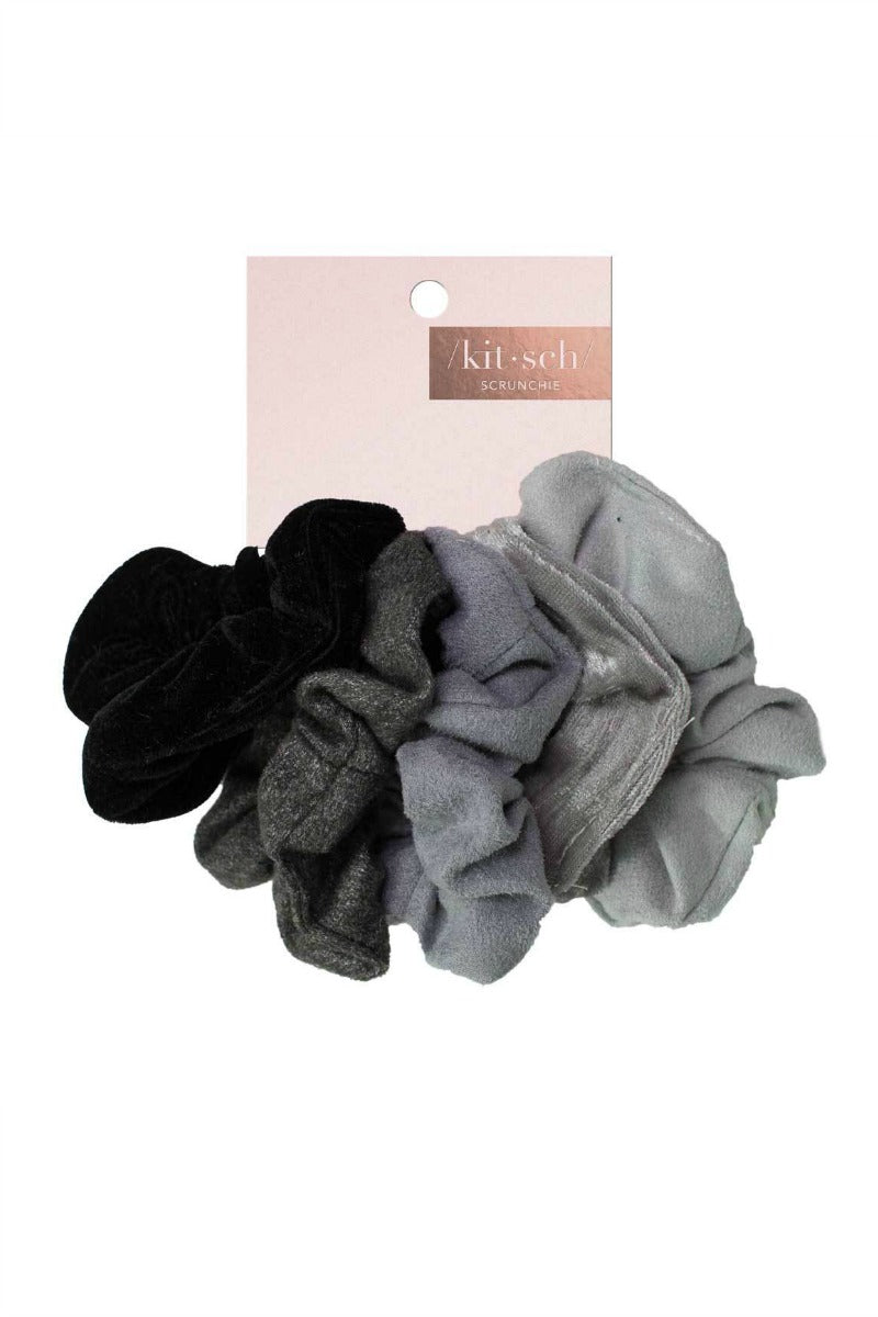 OS / Black/Gray Velvet Scrunchies | Blush or Gray - Madison + Mallory