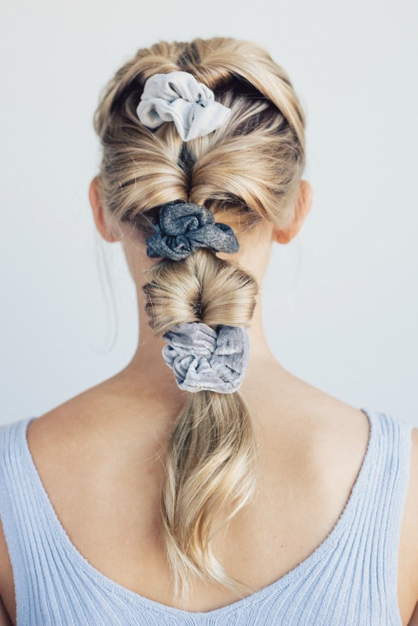 Velvet Scrunchies | Blush or Gray - Madison + Mallory