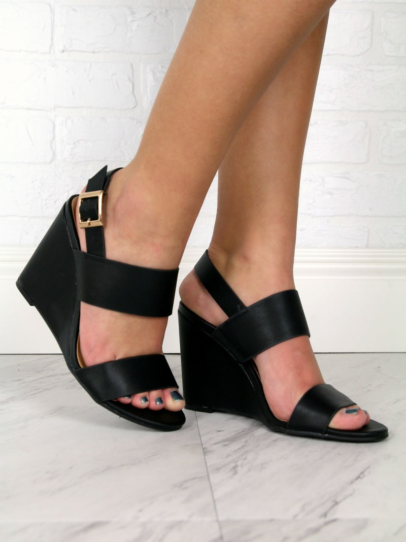 Black / 6.5 Double Band Wedge Heels + MORE COLORS - FINAL SALE - Madison + Mallory
