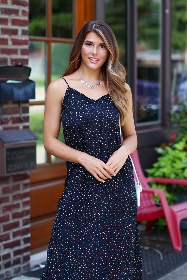 Leena Ruffled Dot Maxi Dress - Madison + Mallory