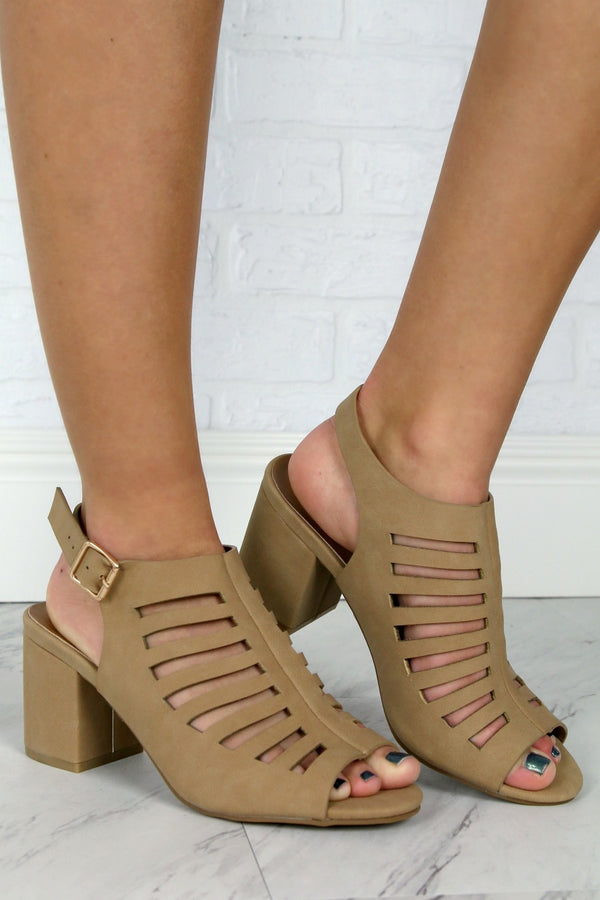7 / Natural Laser Cut Peep Toe Heels - Madison + Mallory