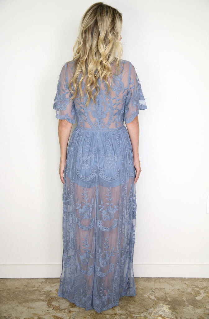 Dusty Blue Lace Maxi Dress