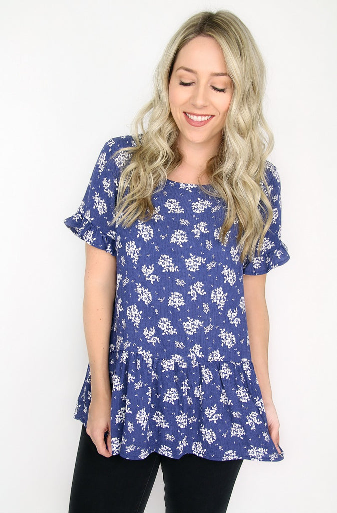 Blue Floral Peplum Top