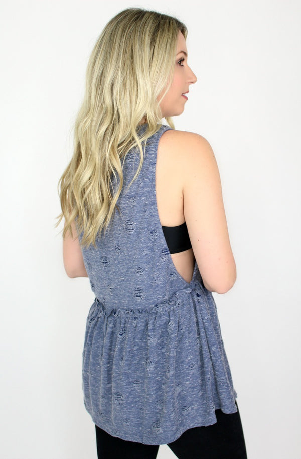 Distressed Ruffle Tank Top - Madison + Mallory