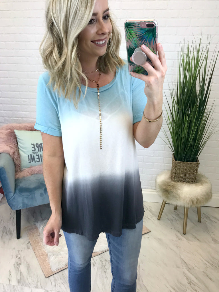 S / Blue Tie Dye Relaxed Fit Tee - Madison + Mallory