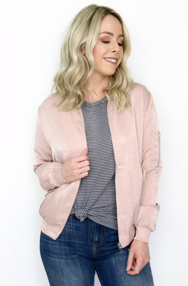 S / Nude Pink Blush Satin Bomber Jacket - Madison + Mallory