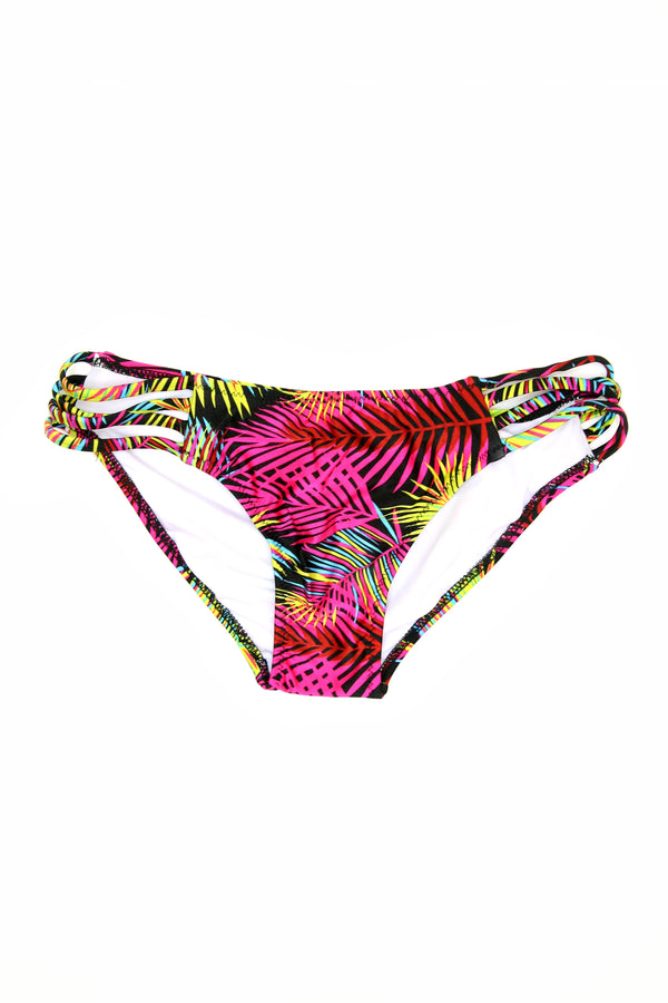 S / Black Strappy Neon Palm Bikini Bottoms - FINAL SALE - Madison + Mallory