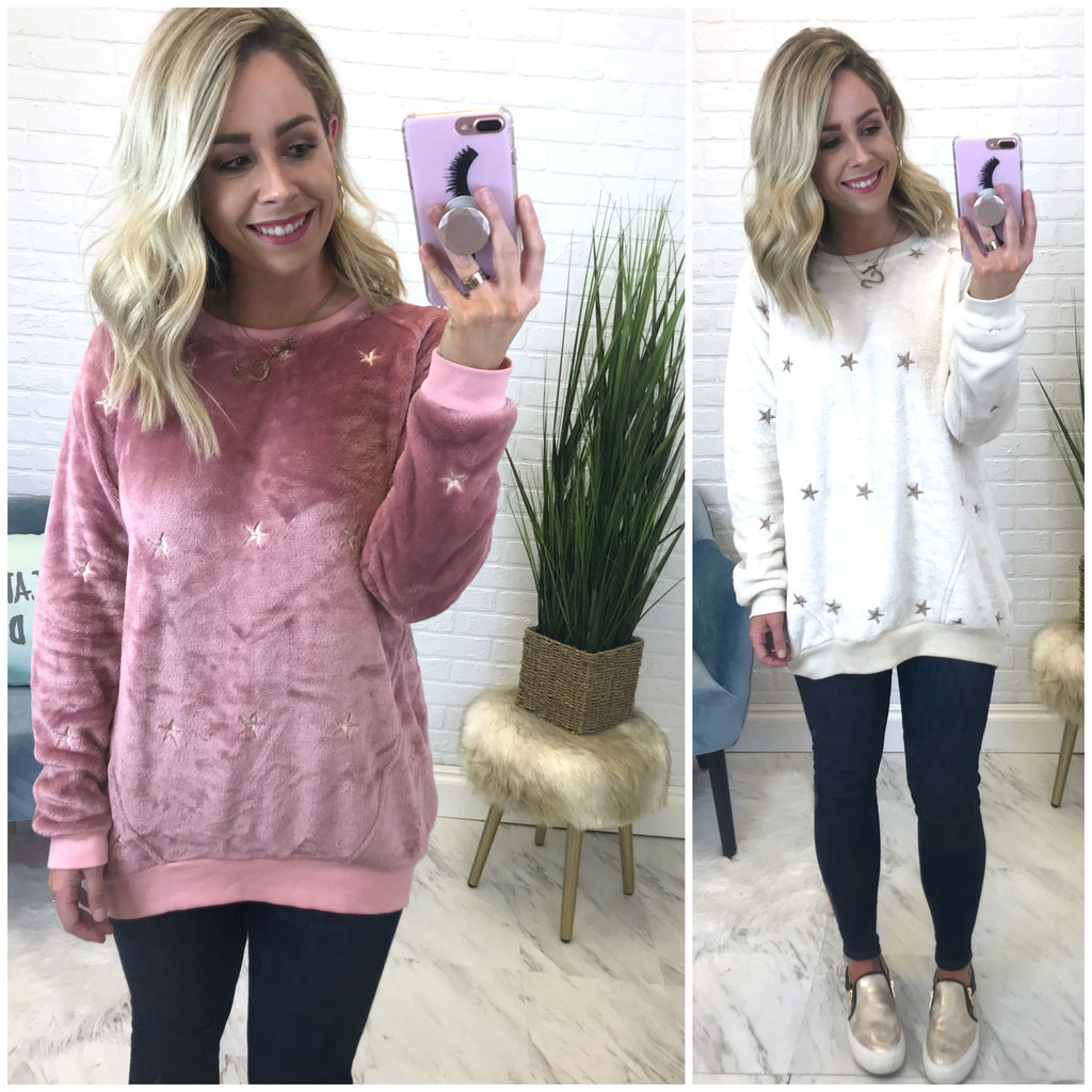 Brushed Velvet Star Pullover Tunic